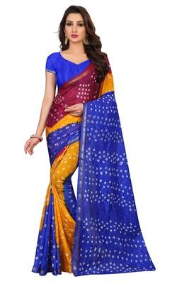 Dark blue bandhani saree with blouse