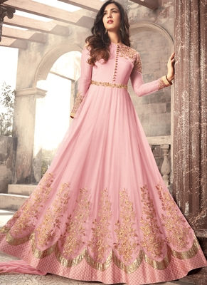 Baby-pink embroidered net salwar with dupatta