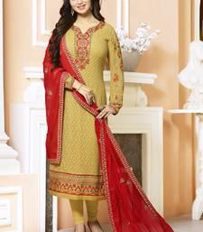 Buy Chiku embroidered georgette salwar with dupatta ayesha-takia-salwar-kameez online