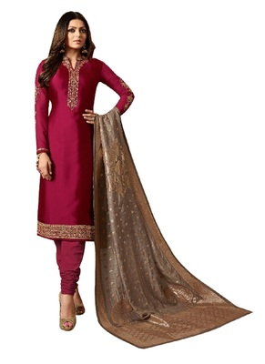 Maroon embroidered crepe salwar with dupatta