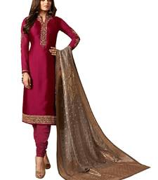 Buy Maroon embroidered crepe salwar with dupatta straight-suit online
