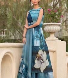 Buy Multicolor printed silk long-kurtis party-wear-kurtis online