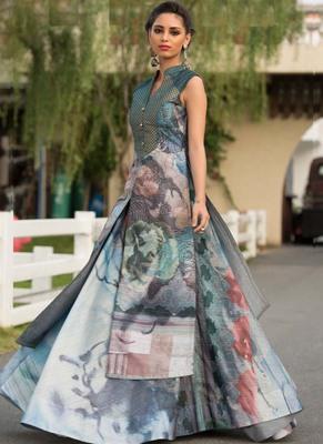 Multicolor printed silk long-kurtis
