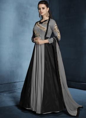 Grey Embroidered Silk Salwar With Dupatta