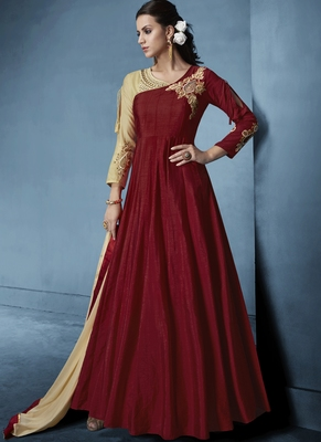 Maroon Embroidered Silk Salwar With Dupatta