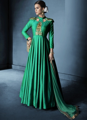 Parrot-Green Embroidered Silk Salwar With Dupatta