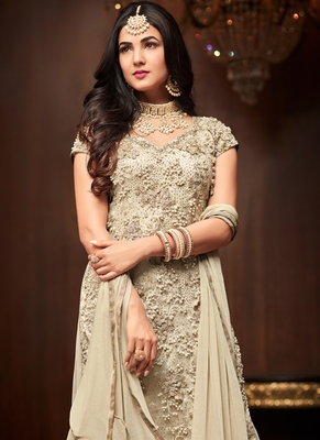 Cream  embroidered net kameez with palazzo