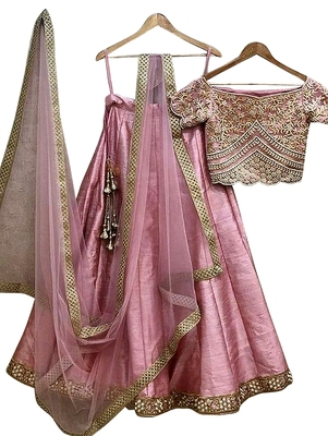 Pink thread embroidery art silk semi stitched lehenga with dupatta