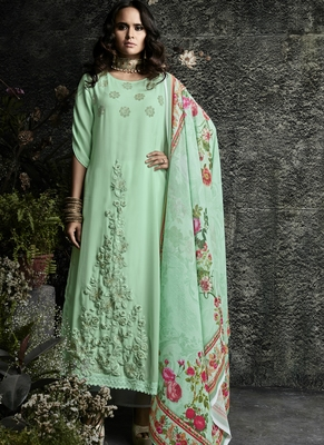 Lime embroidered georgette salwar with dupatta