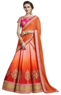 Orange Embroidered Handloom Silk Lehenga With Dupatta