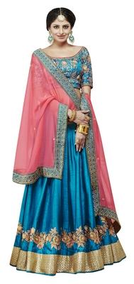 Dark-Blue Embroidered Silk Satin Lehenga With Dupatta