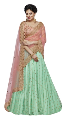 Sea -Green Embroidered Net Lehenga With Dupatta
