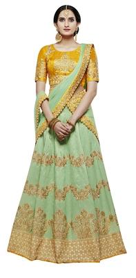 Green Embroidered Handloom Silk Lehenga With Dupatta