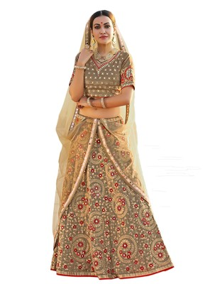 Grey With Golden Embroidered Art Silk Lehenga With Dupatta