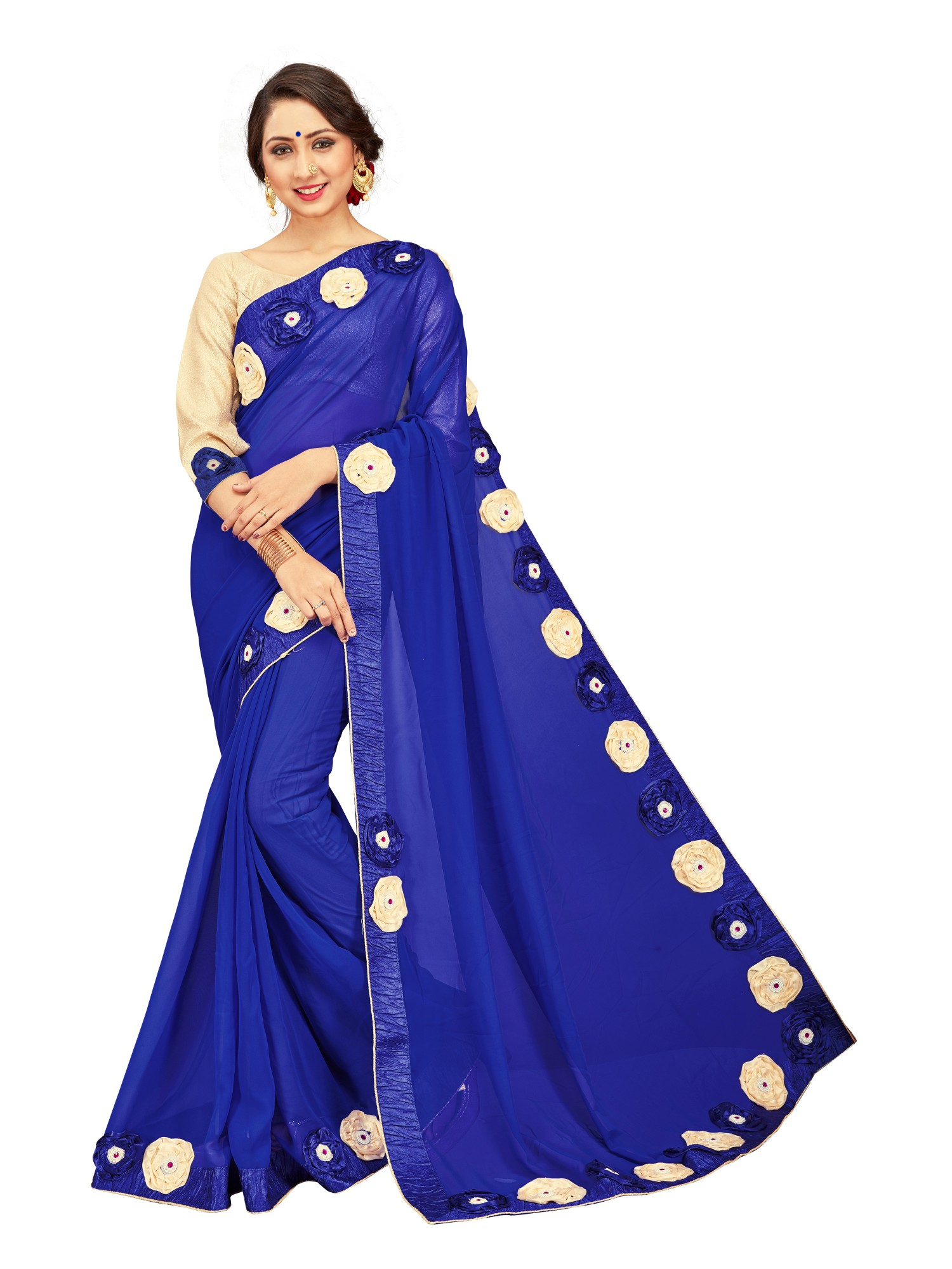 d2fe16c443 Royal blue embroidered faux georgette saree with blouse - Mirchi Fashion -  2719454