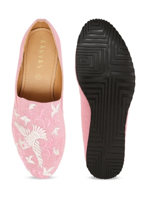 Men's Pink TPR Sole Material Printed Moccasins Slip Ons