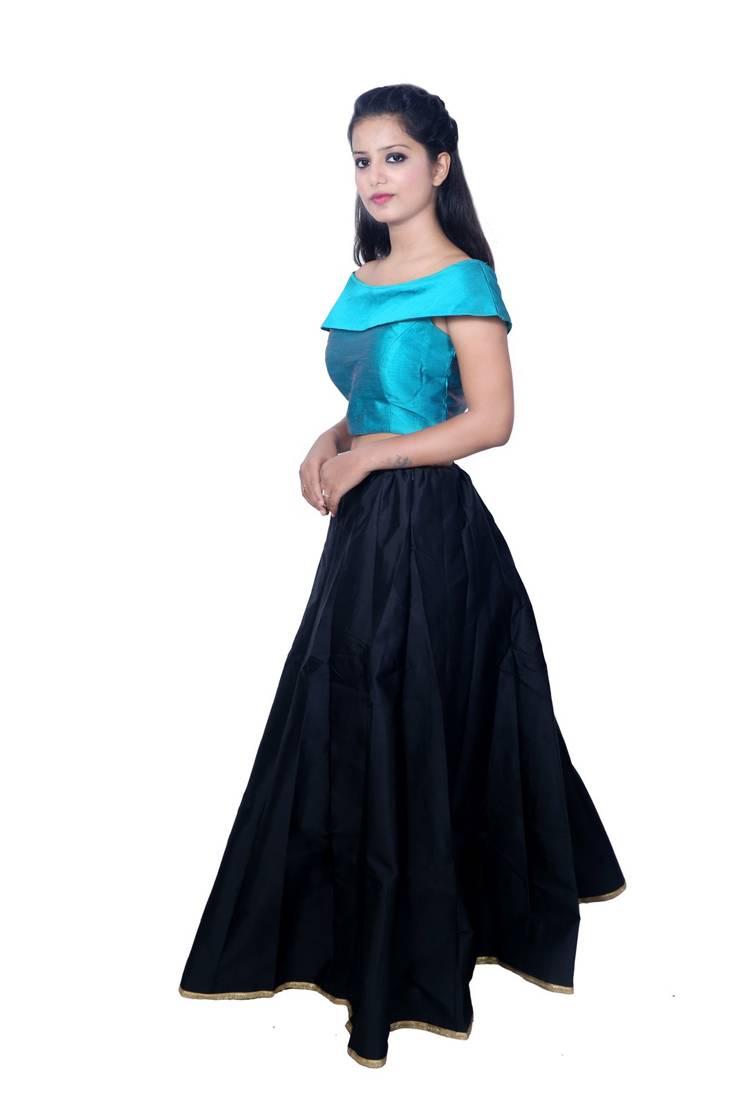 Buy Black Plain Silk Ghagra Choli Online