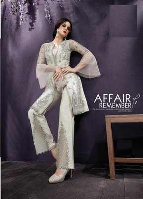 Grey embroidered net salwar suit