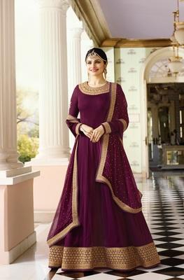 Purple Embroidered Georgette Salwar With Dupatta