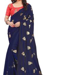 Navy blue embroidered paper silk saree with blouse