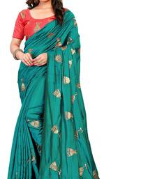 Rama Green embroidered paper silk saree with blouse