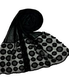 Black Designer Flower Diamond Studed Islamic Hijab Headscarf