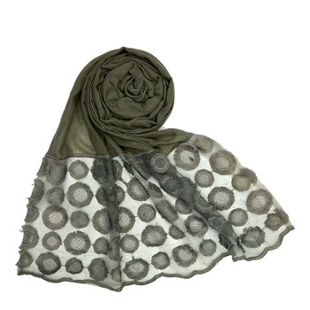 Grey Designer Flower Diamond Studed Islamic Hijab Headscarf