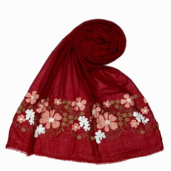 Maroon Designer Flower Cotton Islamic Hijab Headscarf