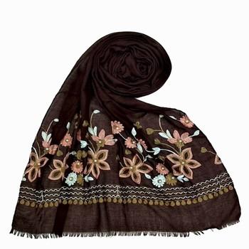 Brown Designer Flower Cotton Islamic Hijab Headscarf