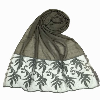 Grey Premium Designer Leaf Cotton Islamic Hijab Headscarf