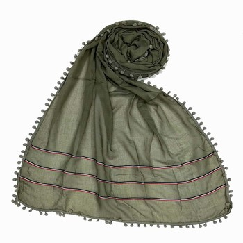 Grey Designer Cotton Three Liner Islamic Hijab Headscarf