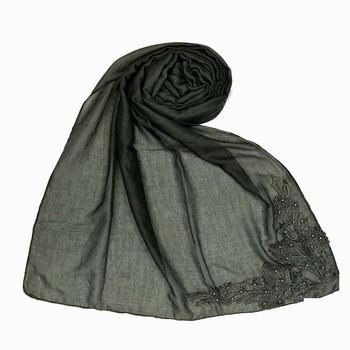 Grey Designer Diamond Studed Islamic Hijab Headscarf