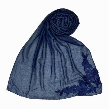 Blue Designer Diamond Studed Islamic Hijab Headscarf