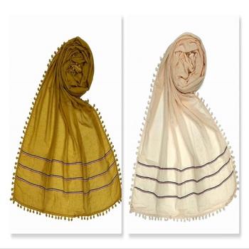 Designer Cotton Three Liner Islamic Hijab Headscarf ( Pack Of 2 )
