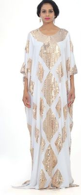 white Embroidered Georgette Islamic Kaftans With Zari & Stone Work