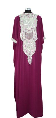 Magenta Embroidered Georgette Islamic Kaftans With Zari & Stone Work