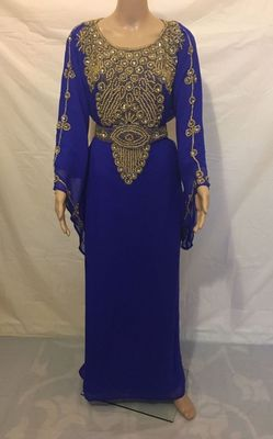 Royal Blue Embroidered Georgette Islamic Kaftans With Zari & Stone Work