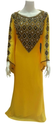 Yellow Embroidered Georgette Islamic Kaftans With Zari & Stone Work