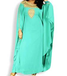 Sky Blue Embroidered Georgette Islamic Kaftans With Zari & Stone Work