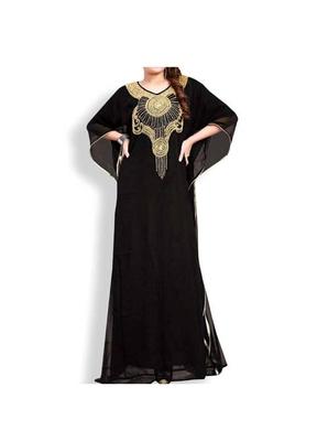 Black Embroidered Georgette Islamic Kaftans With Zari & Stone Work