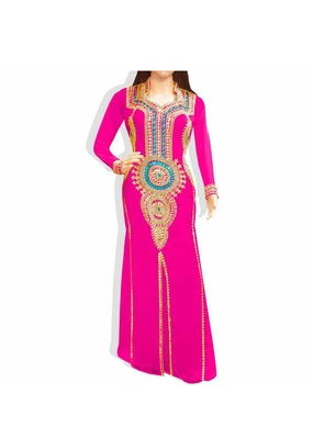 Pink Embroidered Georgette Islamic Kaftans With Zari & Stone Work