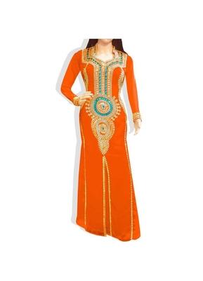 Orange Embroidered Georgette Islamic Kaftans With Zari & Stone Work