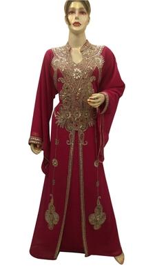 Maroon Embroidered Georgette Islamic Kaftans With Zari & Stone Work