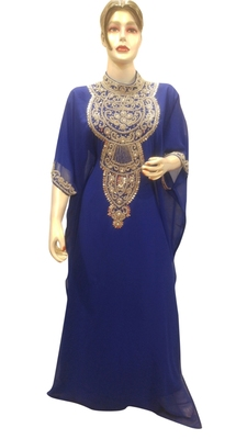 Blue Embroidered Georgette Islamic Kaftans With Zari & Stone Work