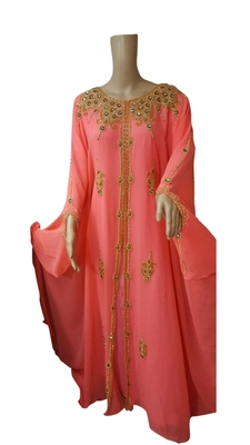 Peach Embroidered Georgette Islamic Kaftans With Zari & Stone Work