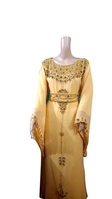 Beige Embroidered Georgette Islamic Kaftans With Zari & Stone Work