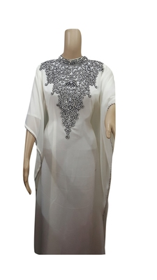 Off White Embroidered Georgette Islamic Kaftans With Zari & Stone Work