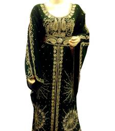Dark green Embroidered Georgette Islamic Kaftans With Zari & Stone Work