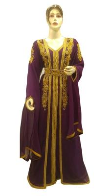 Magenta Embroidered Georgette Islamic Kaftans With Zari & Stone Work