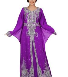 Light Purple Embroidered Georgette Islamic Kaftans With Zari & Stone Work